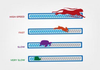 Computer Speed concept. Loading Speed Icon with Animals as symbols. Editable Clip Art.