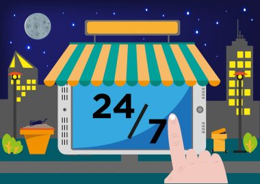 Online Shop Selling Point of Sale System (POS) or Buying stuff via Internet for 24 hours, 7 days