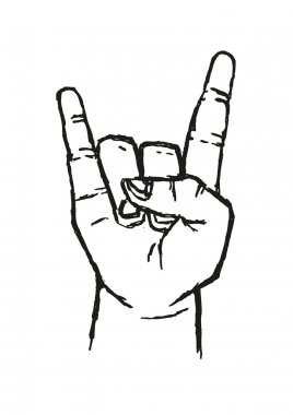 Sign of the Horns Hand Salute  or Sign Language Used in many alternative communications. Stylized Outline Art. Editable Clip Art.