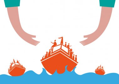 Refugees or Asylum Seekers on Boat Concept. Hands helping Migrants Crossing the rough seas. Editable Clip Art.