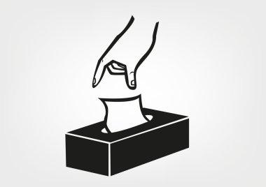 A Hand Gets a Tissue from a Box. Editable Clip Art.