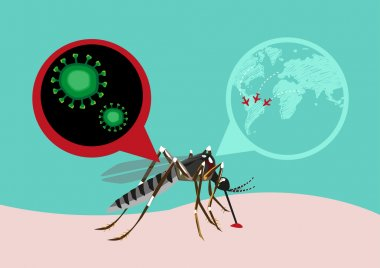 Zika Virus Outbreak and Travel Alert concept.  Editable Clip art.