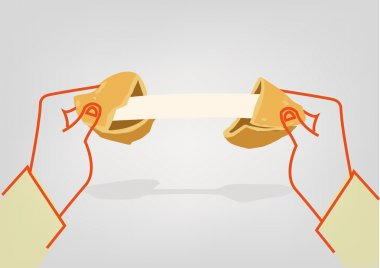 Two hands crack a Fortune Cookie to reveal a message template. Editable Clip Art.