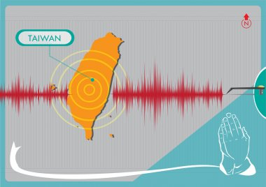 Earthquake in Taiwan concept. Editable Clip Art.