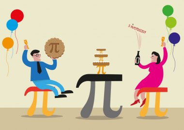 Happy Pi Day concept for Educational or Math lovers. Editable Clip Art.