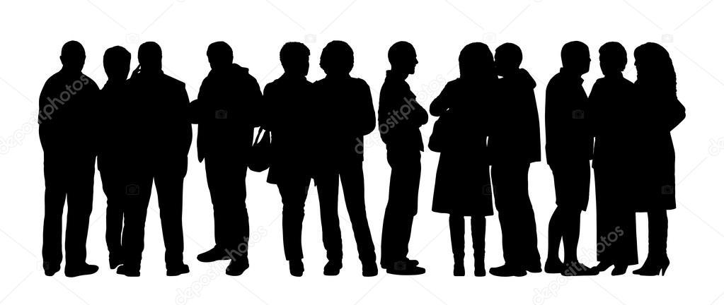 사람들이 실루엣의 큰 그룹 설정 7