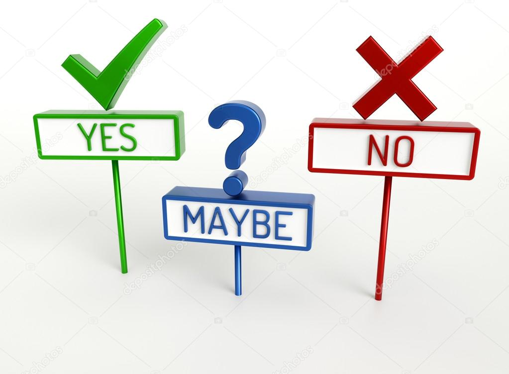 Yes No Maybe - High quality 3D Render — Stock Photo ...