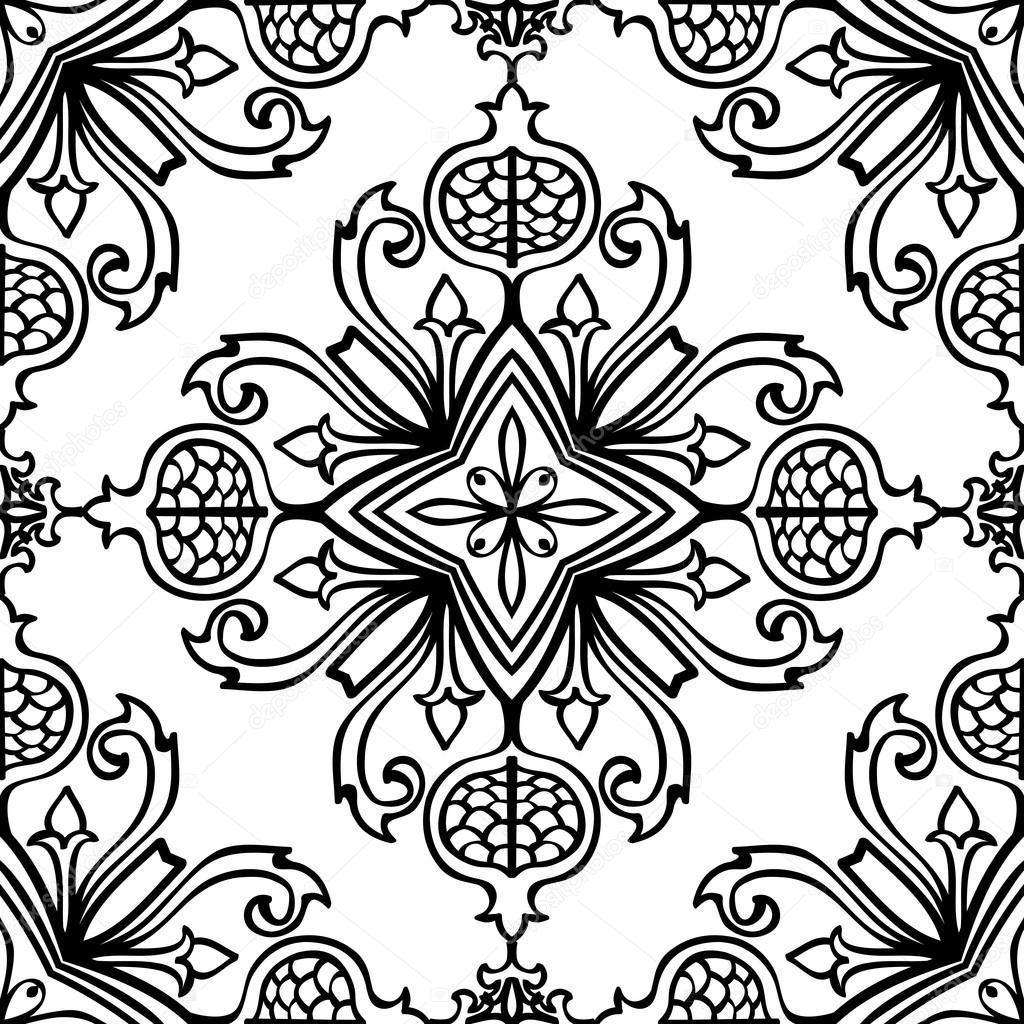 Ornamental floral tile.