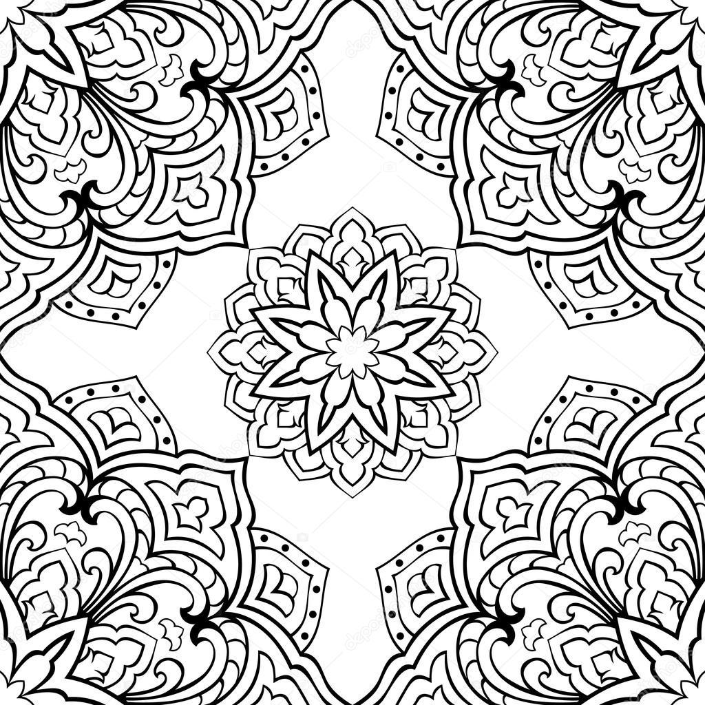 Patrones para bordar mandalas   Patrón de vector de mandala — Vector ...