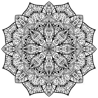 Vector, ornate mandala on a white background.