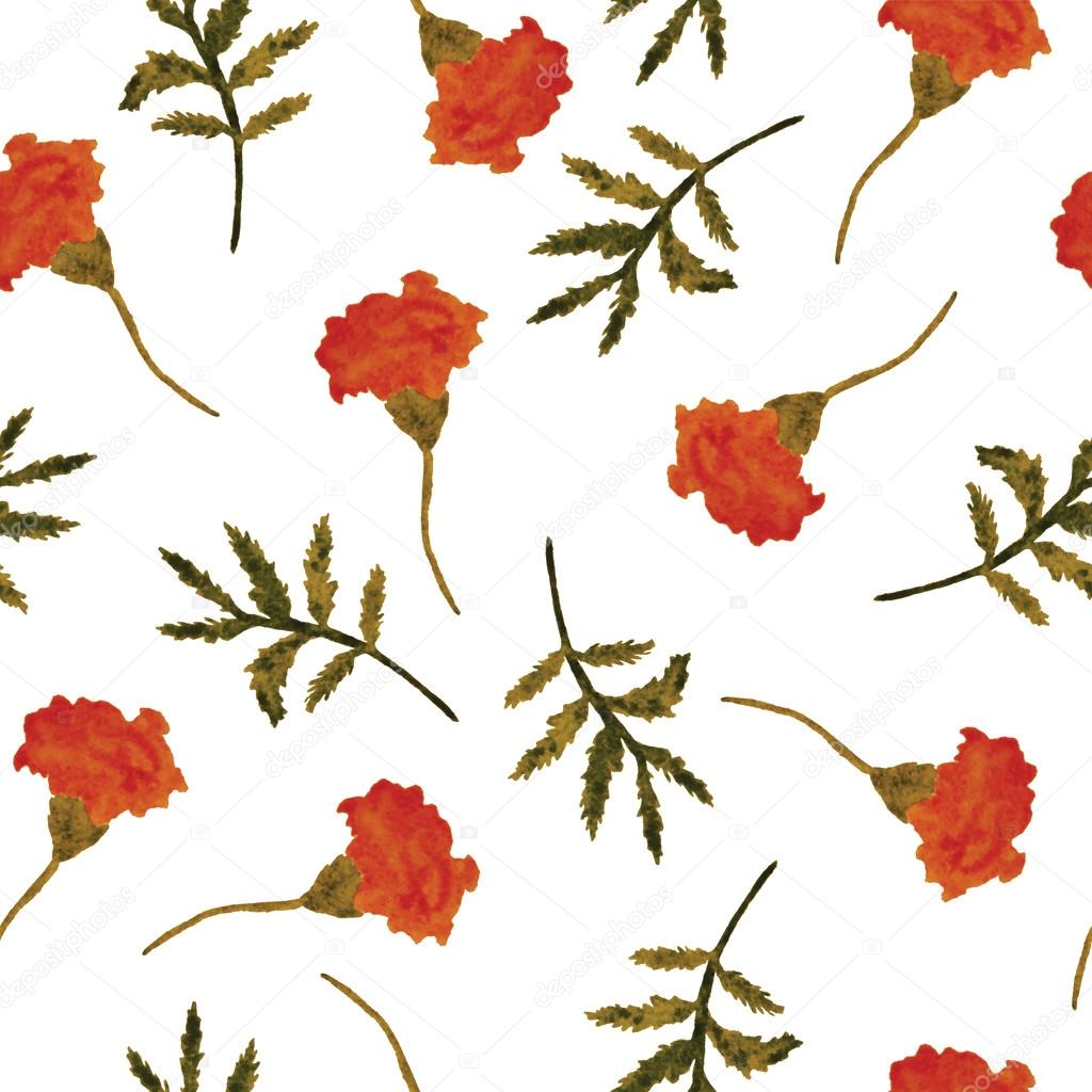 Watercolor, vector, seamless floral pattern with marigolds.