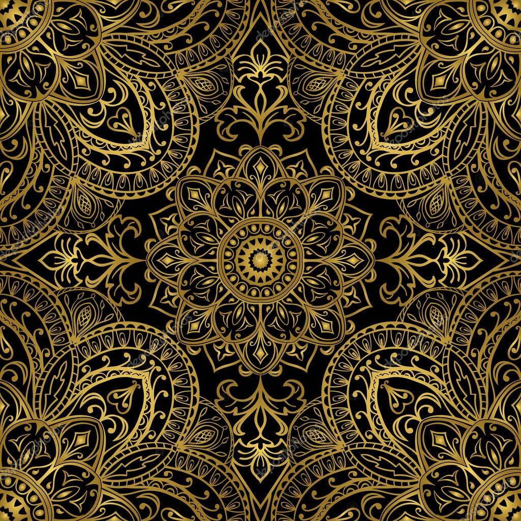 rijke gouden ornamenten op een zwarte achtergrond vector naadloze sierlijke oosterse patroon sjabloon voor gordijnen vector van matorinni