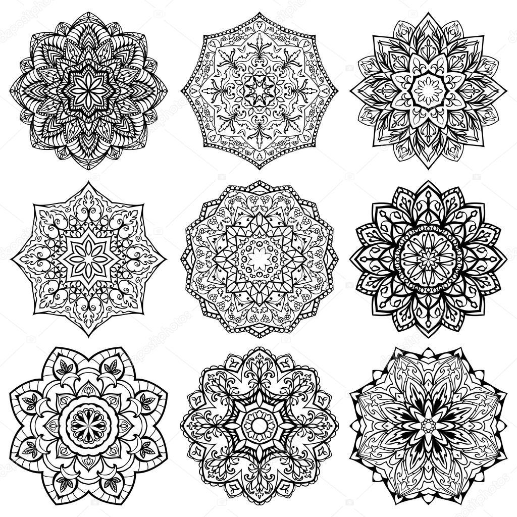 Mandalas Plantillas Para Tatuar Conjunto De Copo De Nieve