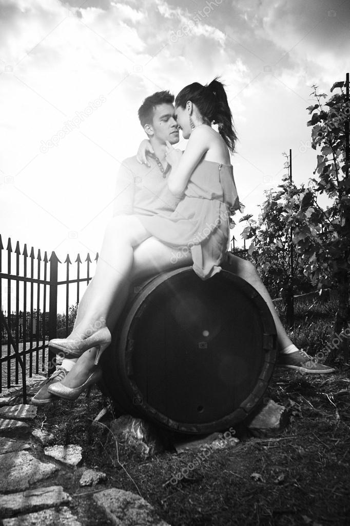 Monochrome memories of couple in love