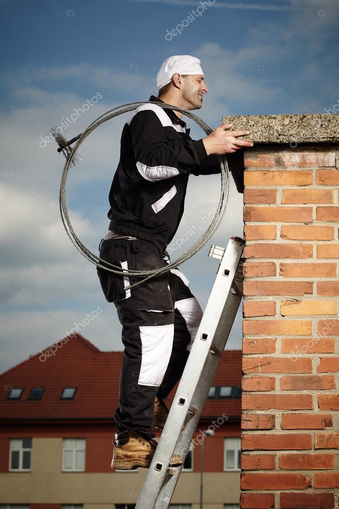 Chimney sweep doing his job
