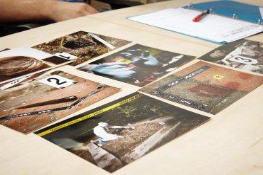 Evidence photos on  table