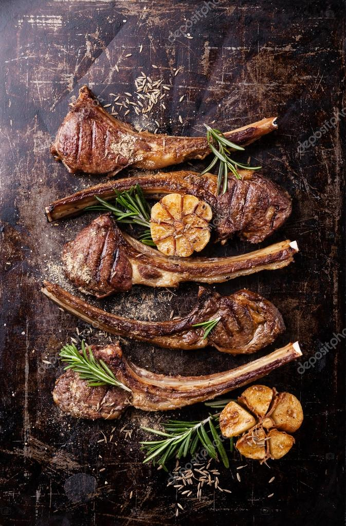 Lamb ribs with spices and garlic