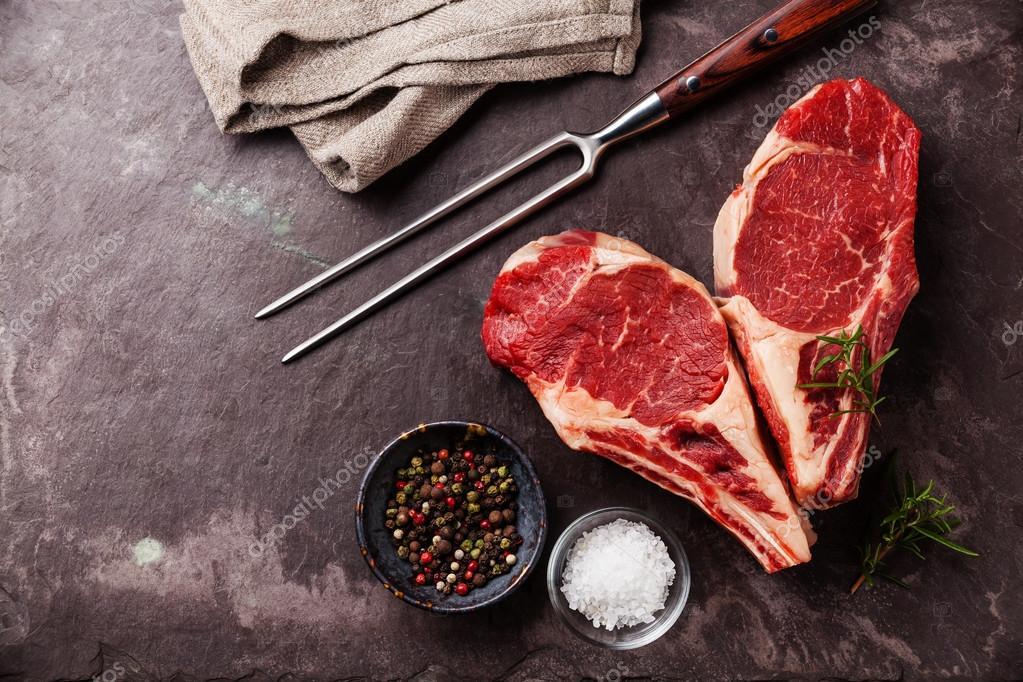 Heart shape Ribeye Steak with rosemary