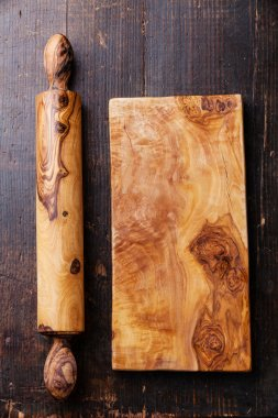 Rolling pin and wood olive cutting board