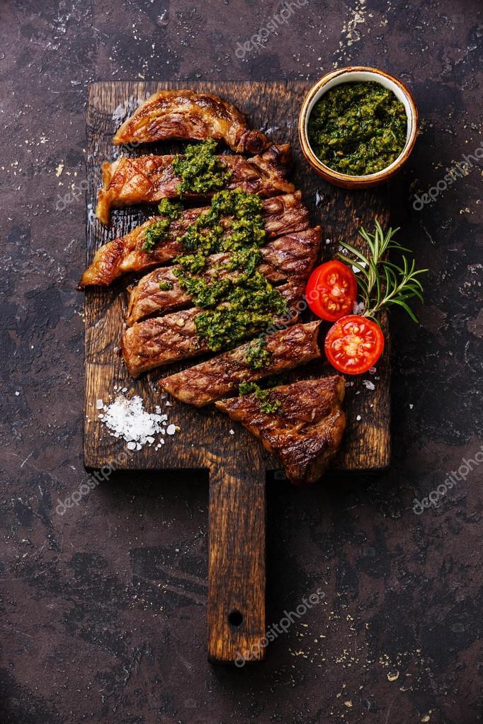 Sirloin steak with chimichurri sauce