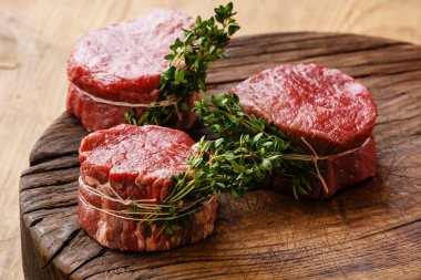 Raw fresh marbled meat Steaks