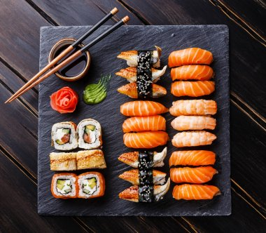 Sushi Set on black stone slate