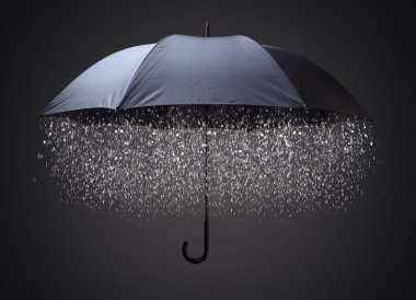 Rain drops falling from inside umbrella