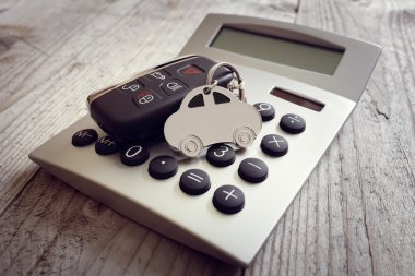 keyring and key on calculator