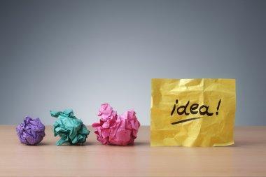 Evolving idea, crumpled paper ball