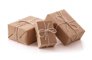 Gift packages wrapped in brown paper