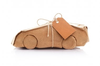 Car wrapped in brown paper