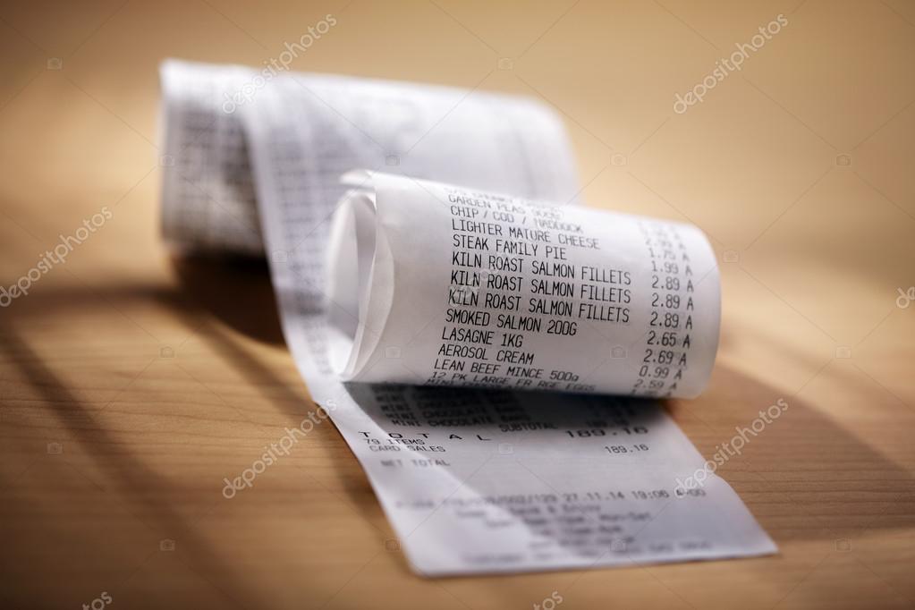 Shopping till receipt