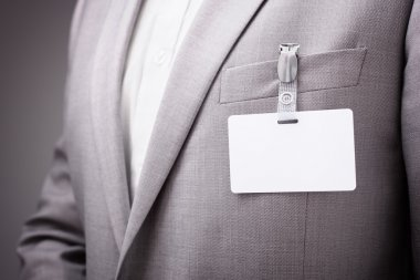 Businessman wearing blank name tag