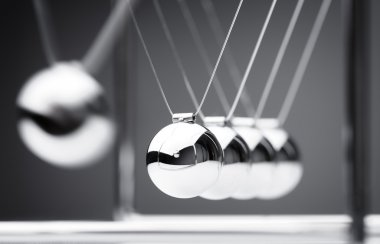 Newton's cradle close up