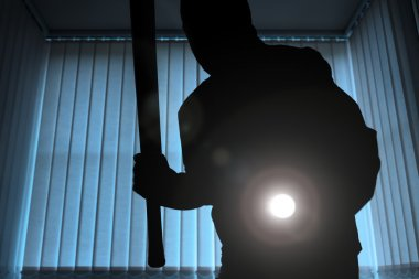 Burglar with flashlight and baseball bat