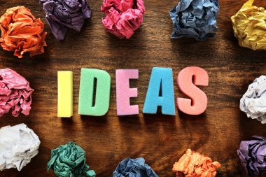 word ideas and crumpled paper balls