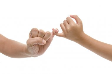 Mother and daughter hands promise isolated