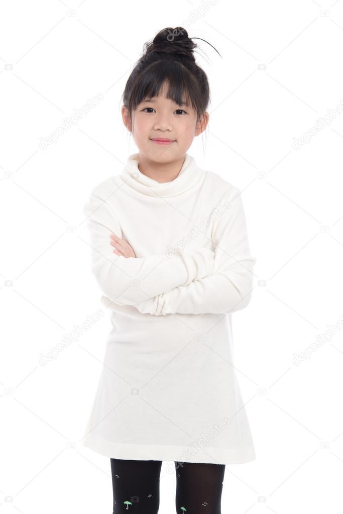 2eec4a6f8e3b Χαριτωμένο ασιατικό κορίτσι σε λευκό Ζιβάγκο φόρεμα — Φωτογραφία Αρχείου