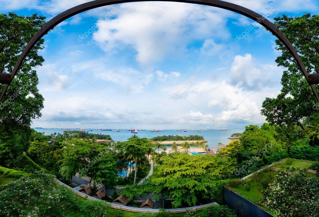 Panoramic view of garden and commercial port in Singapore