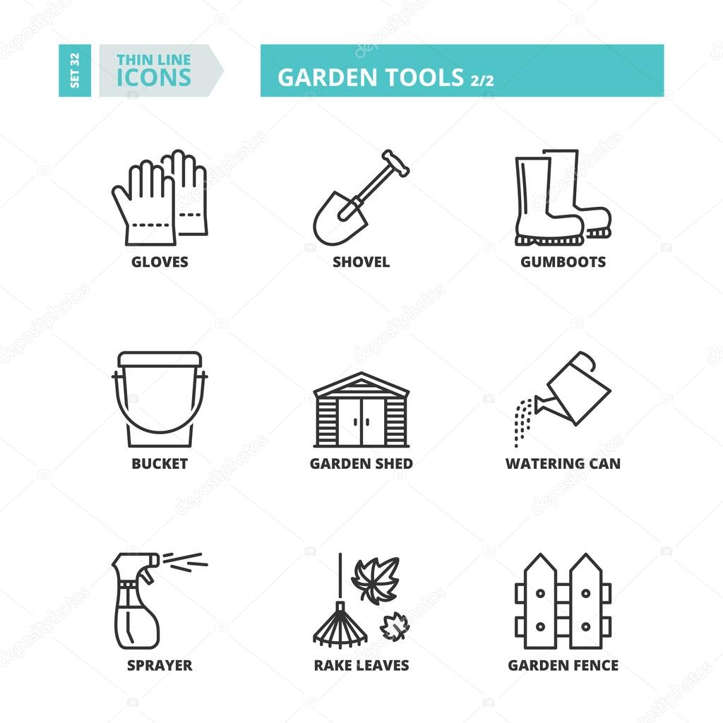 Thin line icons. Garden tools 2