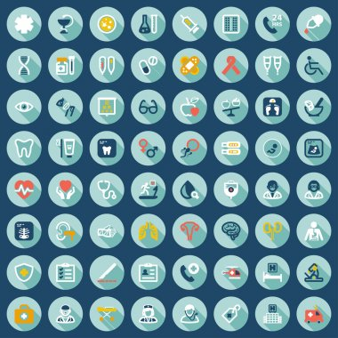 Health flat icons in a circle