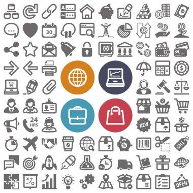 Web finances business shopping flat icons