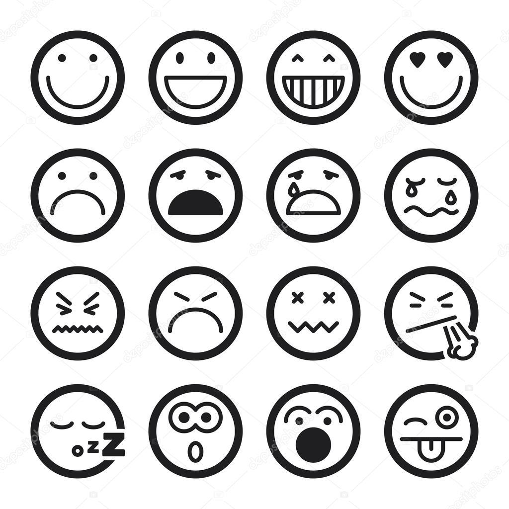 Ic nes plats smiley noir image vectorielle 70266313 - Smiley en noir et blanc ...