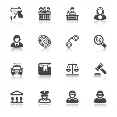 Law flat icons with reflection