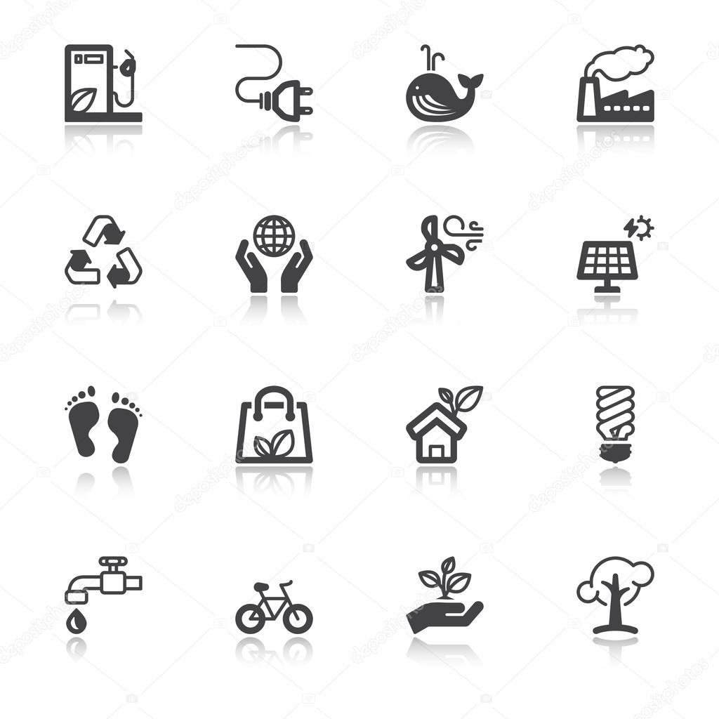 Ecology flat icons with reflection