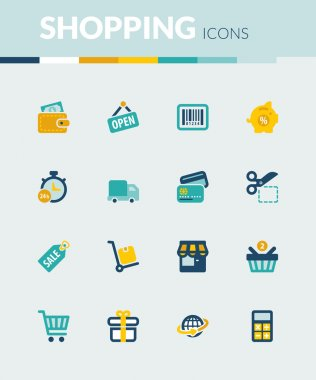 Shopping colorful flat icons