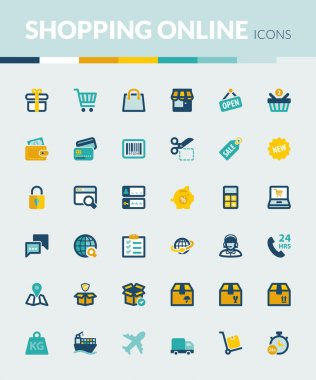 Shopping online colorful flat icons