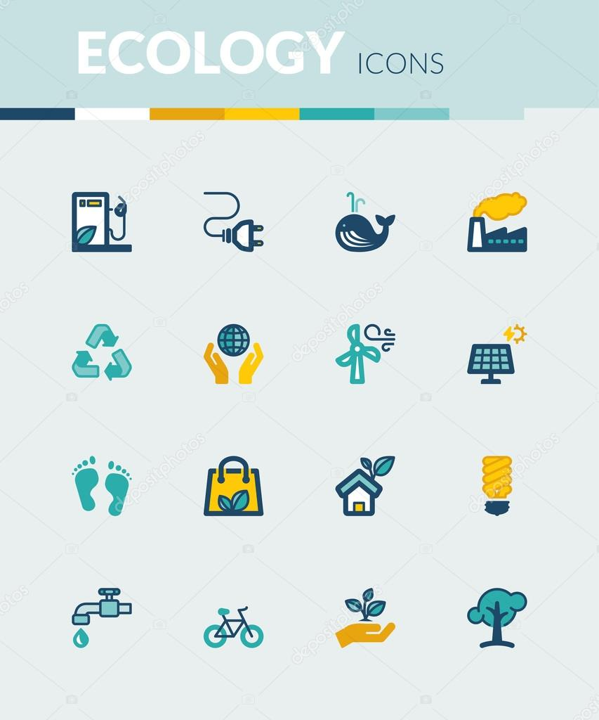 Ecology colorful flat icons
