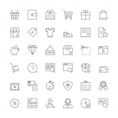 Line icons. Shopping