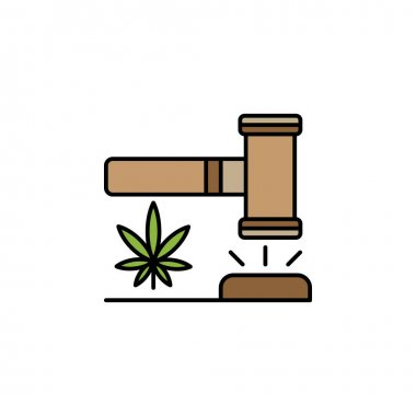 Hammer, conviction, marijuana outline icon. Can be used for web, logo, mobile app, UI, UX on white background on white background icon